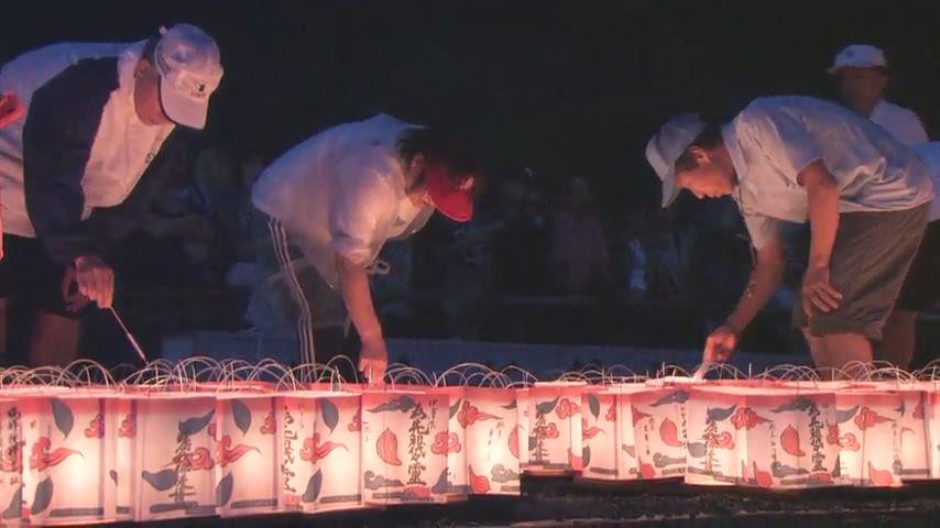 嵐山灯篭流しと鳥居形点火(2014年8月16日)