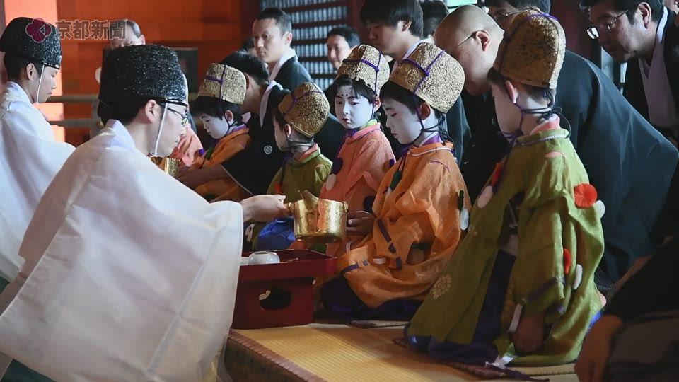祇園祭・綾傘鉾稚児の社参の儀(2019年7月7日 京都市東山区・八坂神社)