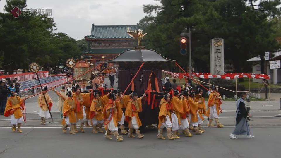 平安神宮を出発する時代祭神幸列(2019年10月26日 京都市左京区)