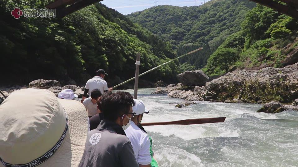 保津川下り試験運行(2020年5月30日 京都府亀岡市)