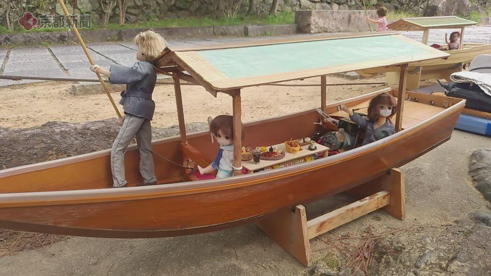嵐山にリカちゃんミニ屋形船(2021年10月、京都市右京・西京区)
